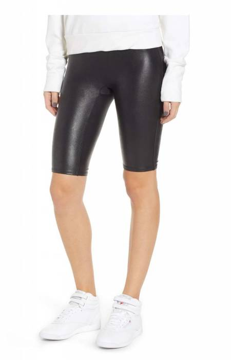 Spanx Faux Leather Bike Short - black
