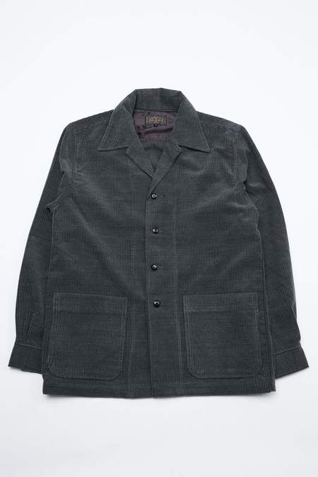 Beams+ Wool Corduroy Camp Collar Jacket - Grey