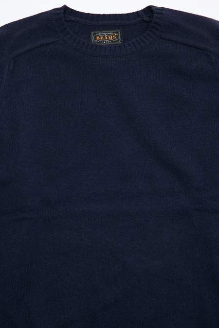 Beams+ 7G Lambswool Crew Knit - Navy