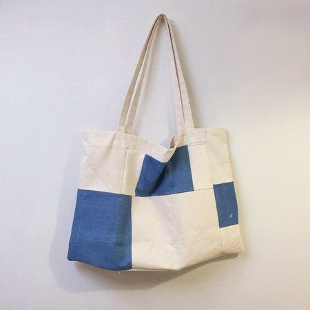Laurs Kemp Huge Patchwork Tote - Cream/Blue