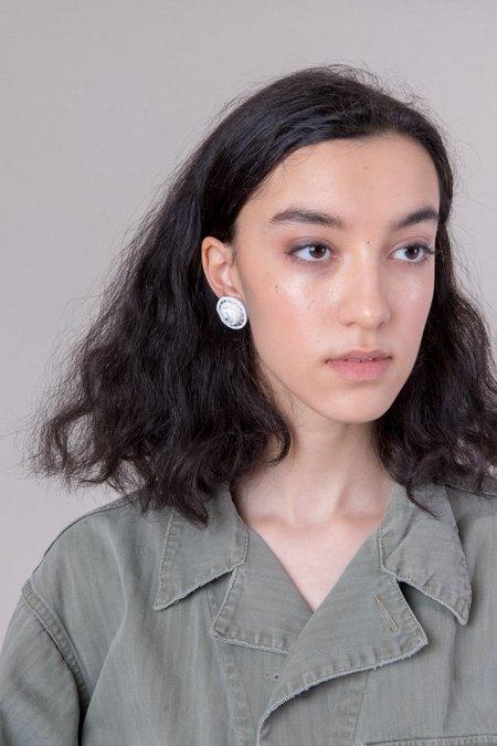 Robin Mollicone Howlite Button Earrings - White