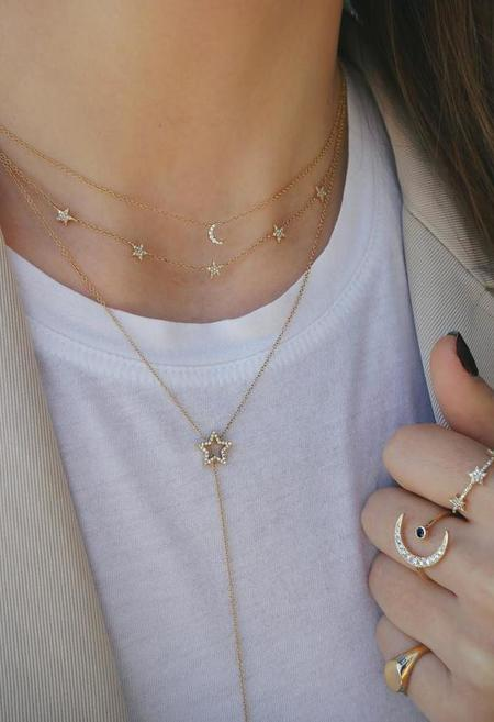 EF Collection Diamond Moon Choker Necklace - 14K Gold