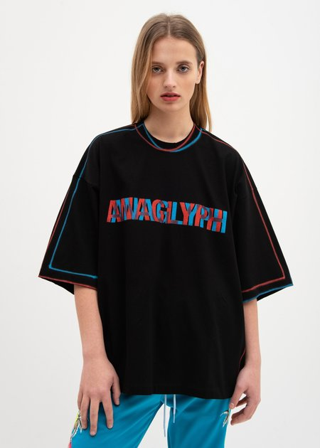 Doublet Anaglyph Hand-Painted T-Shirt - Black