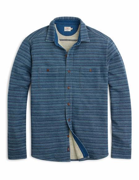 Faherty Brand Knit Season's Shirt - Java Indigo Hombre
