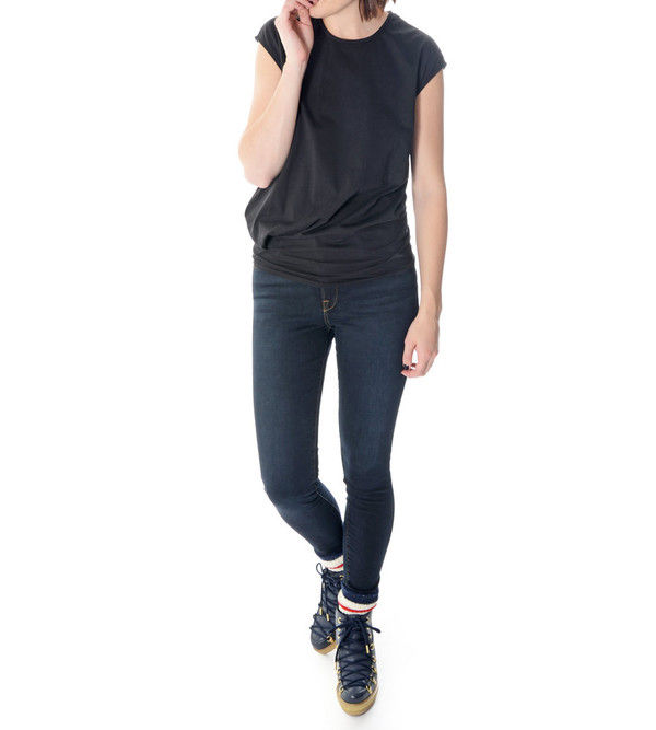08sircus Black Cap Sleeve T-Shirt