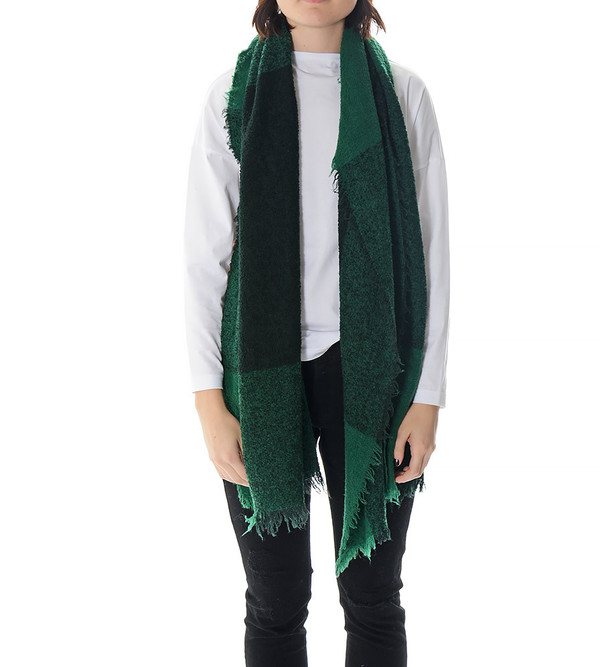 destin Green Plaid Fuffy Stola Scarf