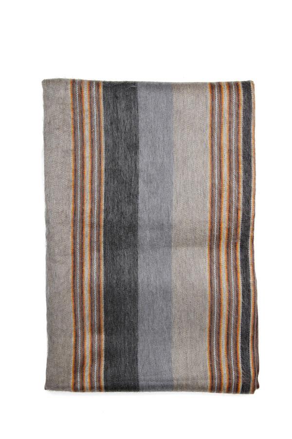Alpaca Wool Blanket Grey Pewter Stripe