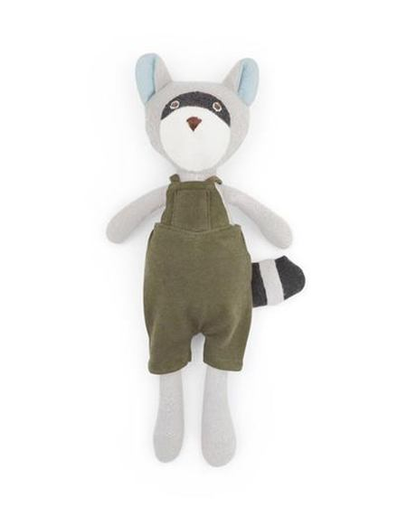 Kids Hazel Village Max the Raccoon Doll in Picnic Overalls