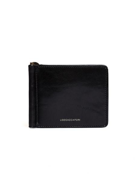 Ugo Cacciatori Leather Clip Wallet - Black