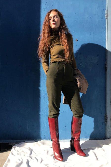 7115 by Szeki Wool Cropped Trousers - Olive
