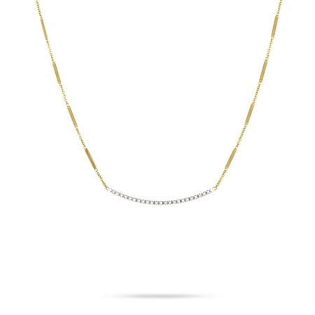 Marco Bicego Goa 18K Yellow Gold and Pave Diamond Bar Necklace