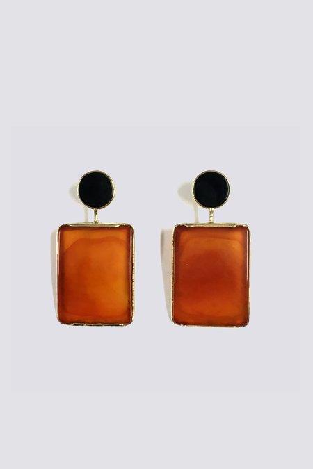 Ora-C Onyx and Cornelian Earrings