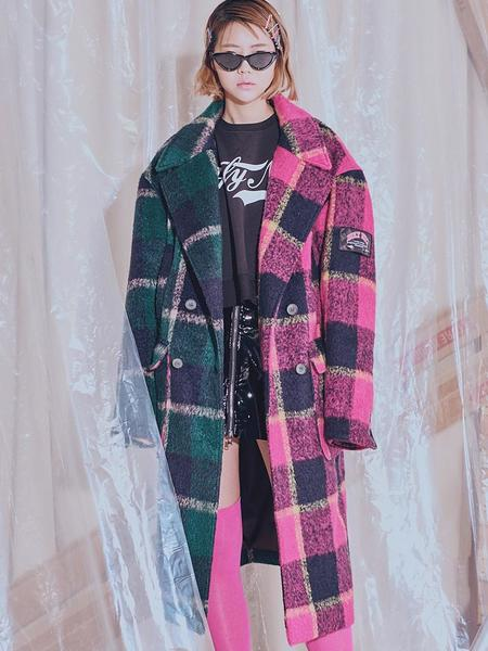 Unisex HOLY NUMBER 7 Mohair Half And Half Check Coat