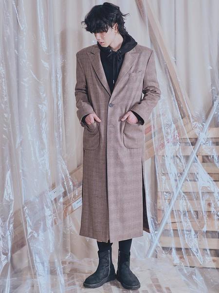 Unisex HOLY NUMBER 7 Glen Check Single Long Coat