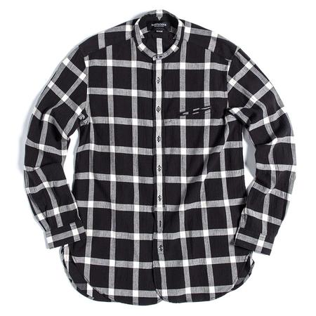 Eastlogue Band Collar Button Up Shirt - Black/White Check