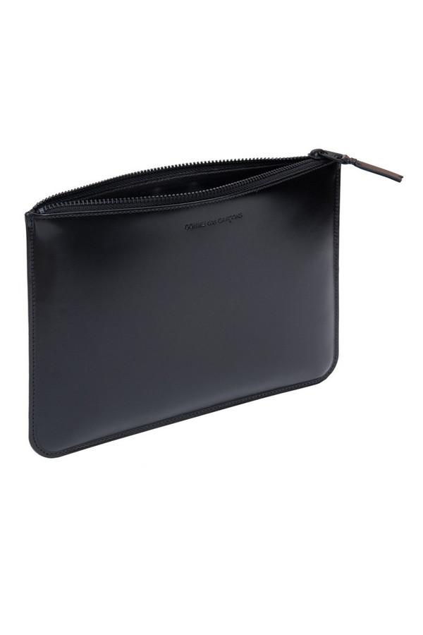 Comme des Garcons Leather Lg Zip Pouch - Very Black