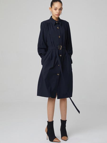 HAE BY HAEKIM Shirring Dress Coat - Navy