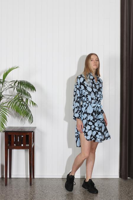 No.6 Lulu Shirt Dress - Black/Sky Tulip