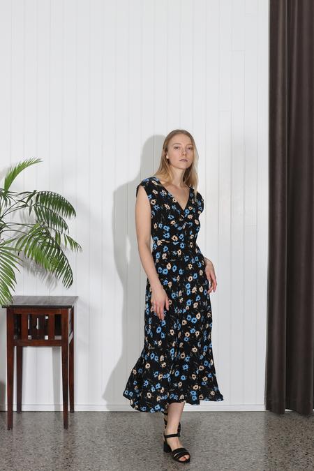 No.6 Teddi Dress - Black/Blue Floral