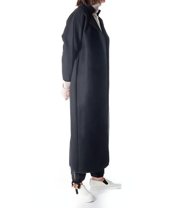 Charlie May Black Wool/Felt Kimono Coat