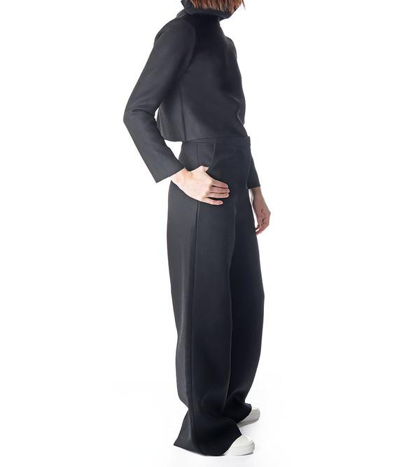 Charlie May Black Wool/Felt Wide Leg Trousers