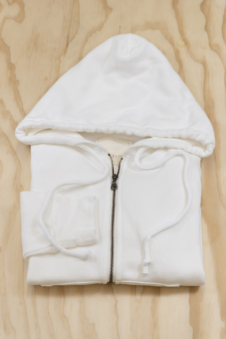 v :: room Cotton Cashmere Zip Hoodie - WHITE