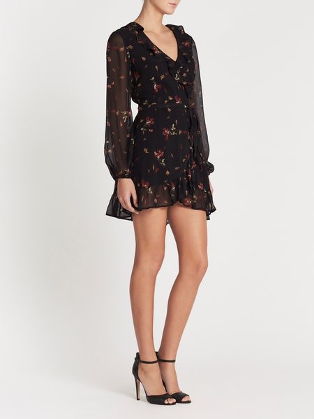 Paige Shawna Dress - BLACK/DARK RUST FALLING FLORAL