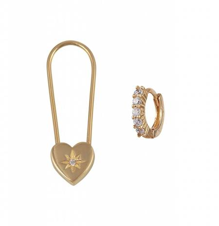 Natalie B. Jewelry Heart safety pin earring - 14k Gold