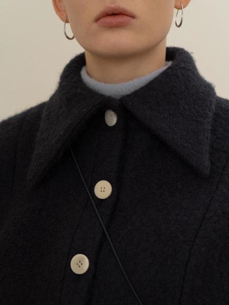 BISCUITSHOP Boucle Puff Sleeved Single Jacket - Navy