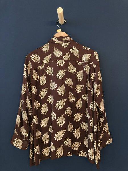 Chimala Aloha Print Bowtie Shirt - Brown