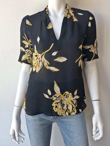 Joie Ance Floral Blouse - CAVIAR