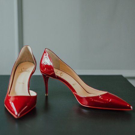 Vintage Christian Louboutin Patent Leather Iriza Pump - burgundy