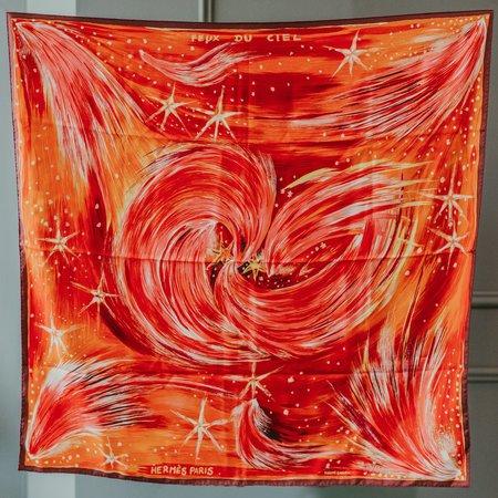 Vintage Hermès Feux Du Ciel Scarf - Orange Red