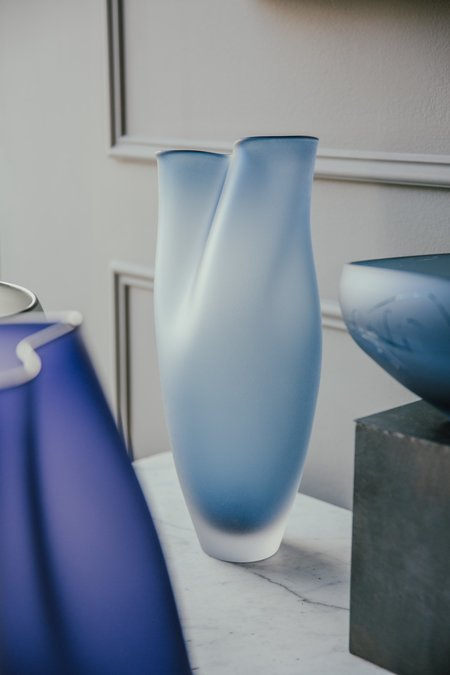 Jeff Goodman Studio Glass Vessel - Steel Blue