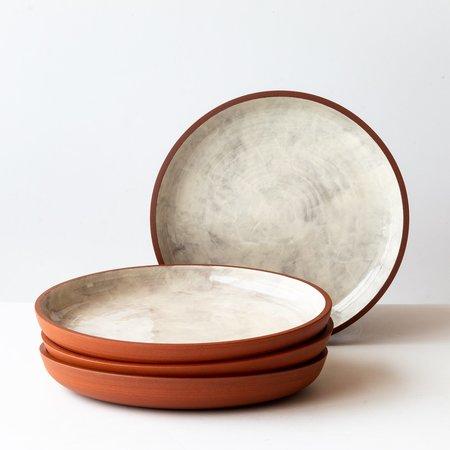 Léa & Nicolas Set of 4 Stoneware Dinner Plates - Terracota/White