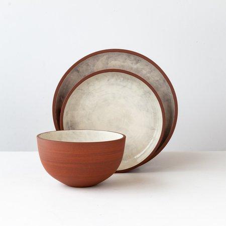 Léa & Nicolas Stoneware 3-Piece Dinnerware Set - Terracota/White