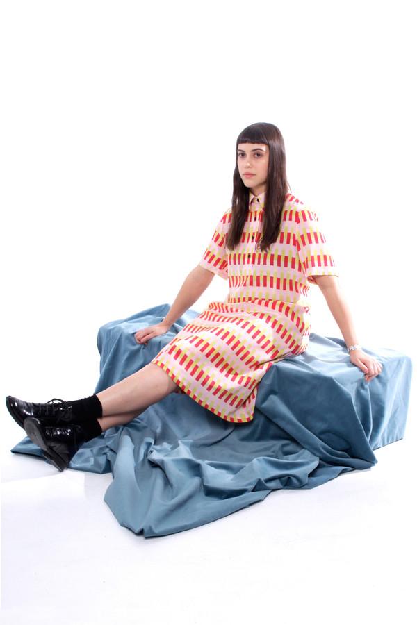 Dusen Dusen Vertical Bricks Long Collared Dress