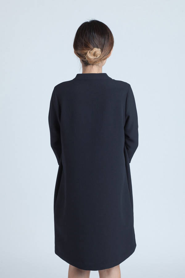 Kaarem Black Blue Mock-neck Dress