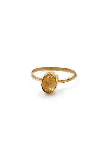 Broken Arrow Fire Opal Mesa Ring - Gold