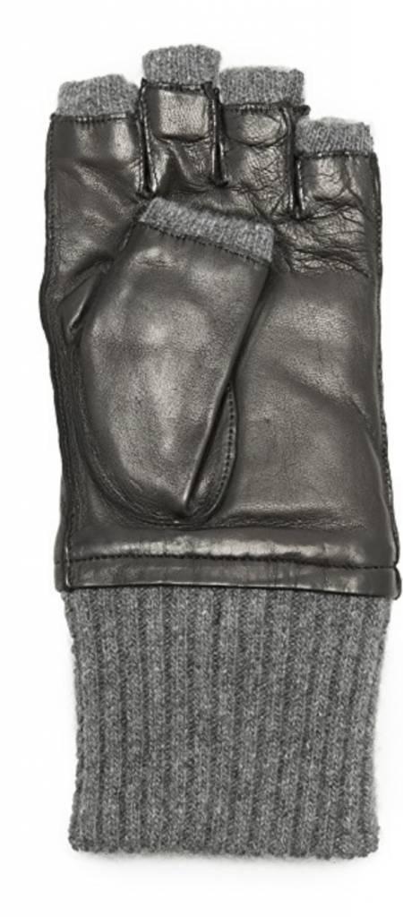 Carolina Amato Cashmere Pop Top Glove - Black/Grey