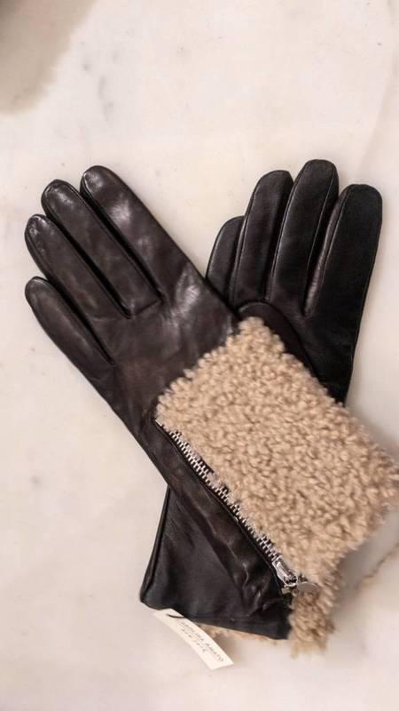 Carolina Amato Leather/Shearling Gloves