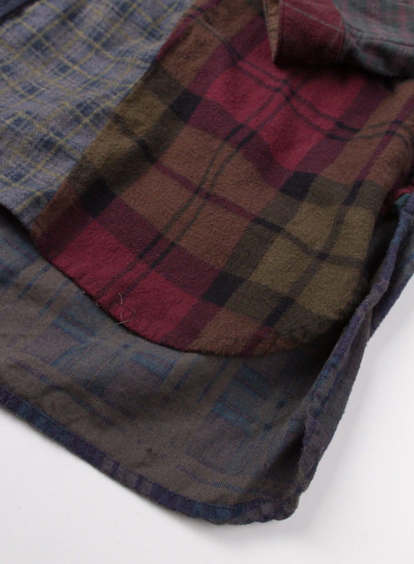 Band Collar Flannel Black Overdye (LARGE A)