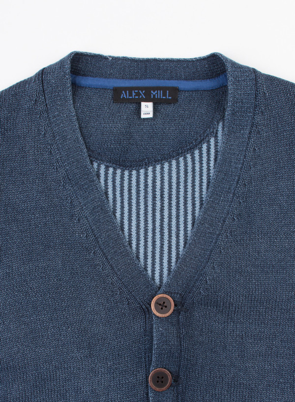 Men's Alex Mill Indigo Cotton Sweater Vest Indigo