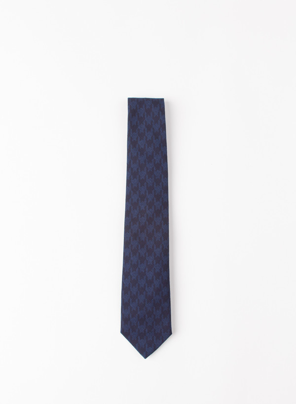Blue Blue Japan Indigo Houndstooth Flannel Over Printed Tie