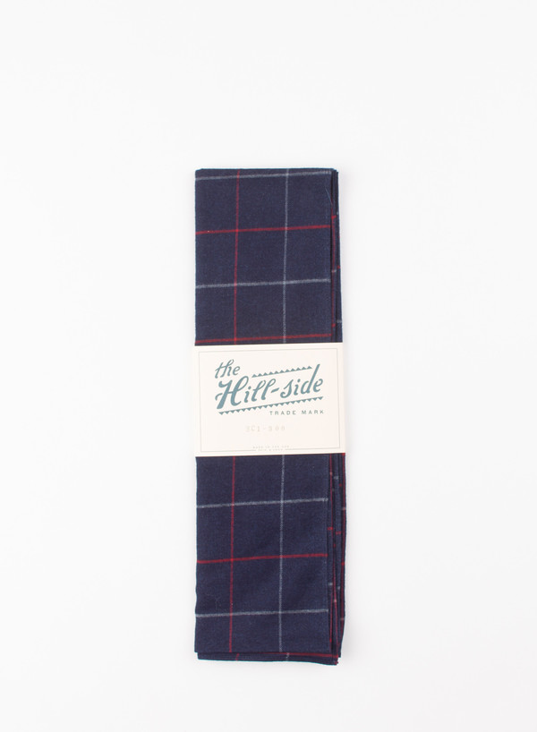 The Hill-Side Scarf Brushed Indigo Flannel, Narrow Check
