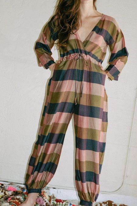 Electric Feathers Kimono Jumpsuit - Peach/Plum Madras