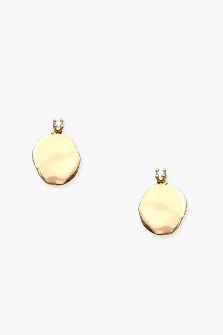 WWAKE Large Diamond Disc Stud Earrings - Gold