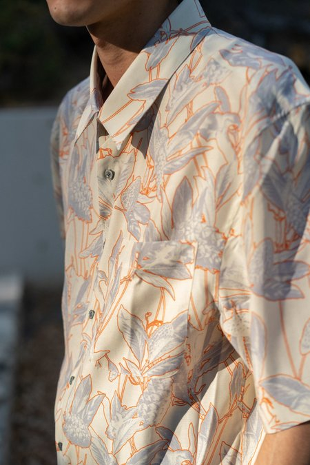 Lanvin Oversized Floral Print Shirt - Ecru/Orange