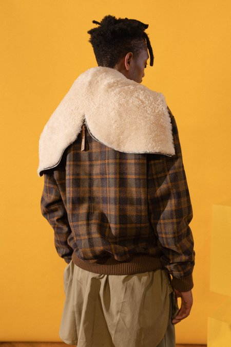 LOEWE Shearling Zip Hood Check Jacket - brown