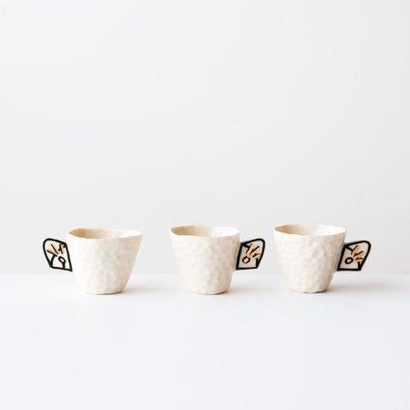 Cybèle B. Pilon Set of 4 Porcelain Cups With Painted Handle